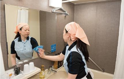 シャワールーム・洗面台のちょっとした汚れにも目配りを欠かしません。